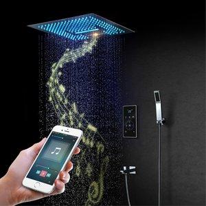 음악 샤워 헤드 16 인치 비와 천장 높이 욕실 주도 샤워 세트 마사지 폭포