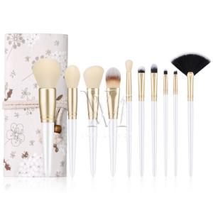 10pcs Pearl White Set Make-up Pinsel mit Tuch-Beutel-heiße verkaufende Bürsten-Satz ProductsHigh Qualität professionelle kosmetische Werkzeuge