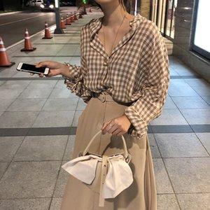plaid blouse shirt korean sweet long sleeve blouse autumn women long sleeve tops 2020 (S2195)