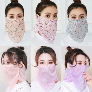 DHL Shipping Sunscreen Masks Outdoor Cycling Mask Summer Chiffon Fashion Printed Face Cover Scarf Dustproof Head Wrap Bandanas X444FZ