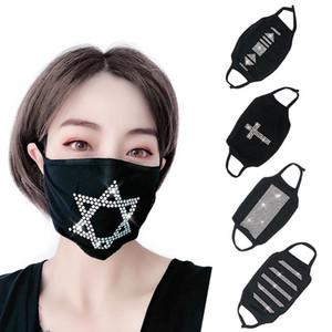 Resistente alla polvere nera Flash Drill strass cotone Maschera personalizzata per età Donne maschera stile Hanging Orecchio Face mask T3I5932