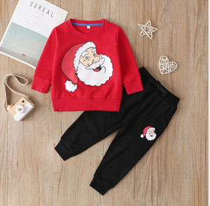 Children's Christmas suit cartoon santa claus head portrait long sleeve Pants Boys and girls two piece set quick sale