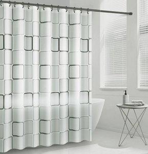 Waterproof PEVA Shower Curtain Geometric Color Block Bath Curtains Bathroom For Bathtub Bathing Cover Liner Transparent Mildew