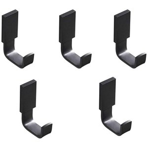 Coat Hook Brass Robe Towel Hooks Contemporary Style Matte Black Finish Wall Mounted - 5 Pack