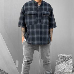 Gris negro de gran tamaño de la franela camisa de manga corta escote Jerséis Camisetas parche a Volver alta calidad