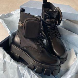 kutu ile Fırçalanmış Rois Deri ve Naylon Combat Boots Kadınlar Tasarımcılar kış Martin yarım bot Platformu Açık Patik Büyük boy