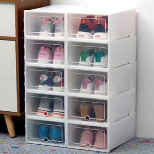 6Pc thickened transparent dustproof storage box can be stacked combination cabinet shoe organizer T200115