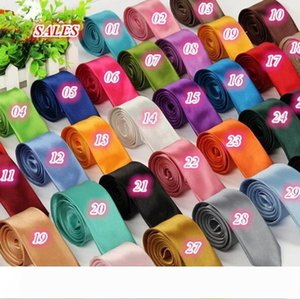 Top Quality Fashion Mens Skinny Plain Satin Tie Solid Color Wedding party Neck ties Formal Business Men silk Neckties 40 colors