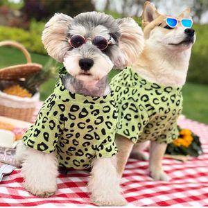 Imprimir chaquetas de mascota leopardo camiseta respirable fina perro Chai Dou Schnauzer perro pequeño animal doméstico del gato Suministros vestuario Perros Ropa