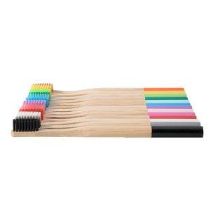 Bambú cepillo de dientes naturales etiqueta privada paquete libre de BPA kraft manija redonda del hotel cerdas desechable ecológico