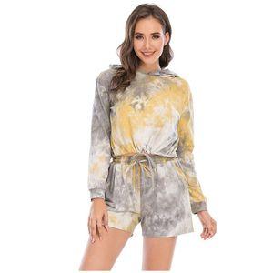 Tie Dye Print Women Clothing Set Two Piece Long Sleeve Blouses Shorts women outdoor sport Loose Tops Pants Suit Trainning set #z