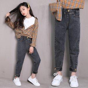 Jeans Jeans automne de 2020 Panty nouvelles moyennes et grandes pour les enfants des enfants des filles pantalon-longueur de la cheville pantalons papa filles