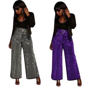 Женская Bling плед Свободные брюки осень зима Mid Drawstring талии плюс размер Wide Leg брюки Женщины Высокая мода Повседневная Sweatpants