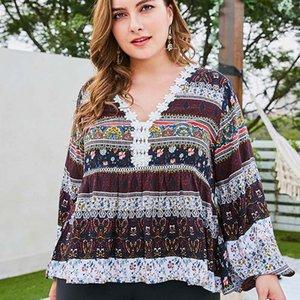 WHZHM longue lanterne manches Plus Size 3XL 4XL T-shirt femmes T-shirts Parti en vrac Fleur Casual Imprimer Floral V-Neck Lace Ladies T-shirt