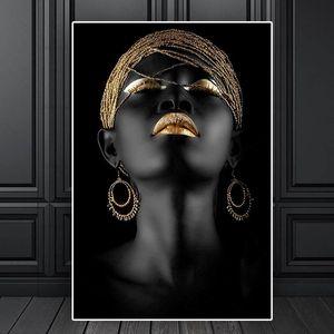 Modern Stil Afrika Kadın Tuval Altın Siyah İskandinav Wall Art Poster'daki Resim ve Salon Dekorasyonu için Print
