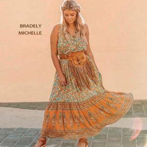 Bradely MICHELLE 2020 Estate Boemia senza maniche allentato fino alle caviglie vestito da boho Mixi Bottoni Vestidos abito