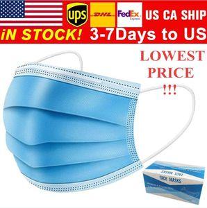 Niedrigstem Preis US STOCK Einweg-Gesichtsmasken mit elastischem Ohr Loop 3 Ply Non Woven atmungsaktiv für Blocking Staub-Luft-Anti-Staubschutzmaske