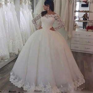Princess Ball Gown Luxury Wedding Dresses Lace Appliques Off the Shoulder Long Sleeves Bridal Dresses Formal Gowns Plus Size