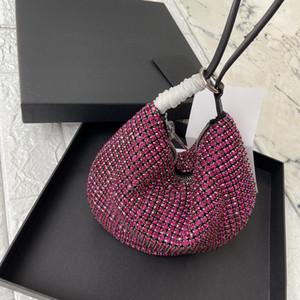 Wang ins wanghong mesmo tipo de diamante de flash água da mão broca transportando axila metade saco rodada