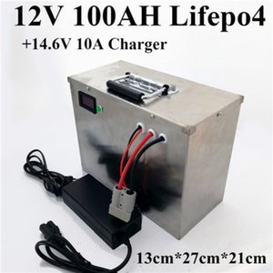 Lifepo4 12V 100AH battery +10A Charger for Ship machine inverter Agricultural freight car Tricycle Diesel engined Forklift