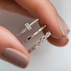 10set (3PCS Set) Women Girls Fashion Geometry Crystal Rings European and American fashion creative cross new Rings Three-piece G-57