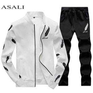 ASALI Mens Tracksuit Zipper 2020 Spring Sets Fleece Casual Men Set 3D Print Pleated Hoodies Sweatshirt Pant Suit Fitness Clothes CX200730