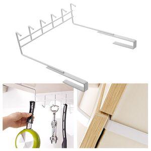 6-Hook Multifunctional Wrought Iron Cabinet Hook Kitchen Nail-Free Kitchen Storage Rack Creative Free Punch Hook
