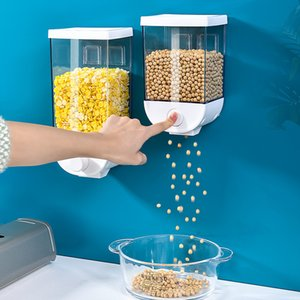 Fácil de Imprensa Storage Container Cereal Dispenser Wall Mount Kitchen Oatmeal Cereal Orgainzer Sealed Jar Oatmeal Box