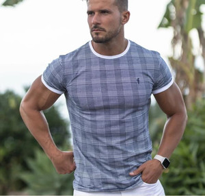 4 Colors Plaid Mens T Shirts Muscle Fitness Sports T-shirt Male Fitness Sweat Outdoor Summer Fashion Short Sleeve M-XL