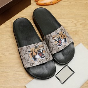 high quality mens designer shoes GUCGI printed tiger head rubber slide sandal luxury sandals Slippers GG Beach causal ace slipper