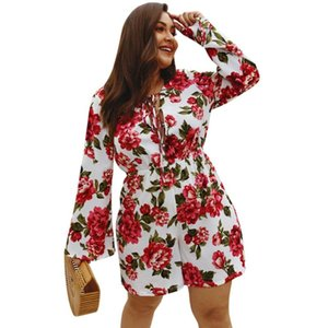 XL-4XL Plus Size Playsuits Women Vintage Boho Holiday Big Size Playsuit Floral Print Body Femme Girls Sexy Large Jumpsuits