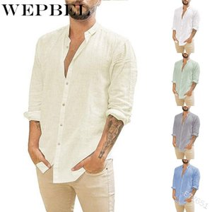 WEPBEL Button Shirts Single-Breasted Blouses Men Fashion Long Sleeve Shirts Casual Tops