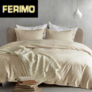 Button Solid Color Sanding Bedding Set Duvet Cover Set Pillowcases Home Textile Bedclothes Comforter Bedding bed linen