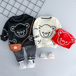 INS modası Çocuk Bebek Kız Erkek Giyim Sonbahar Kış Peluş Bebek Giyim Suits Karikatür Çocuk Çocuk Casual Coatume ayarlar