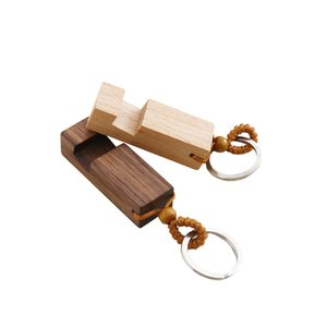Wood Keychain Phone Holder Rectangle Wooden Key Ring Cell Phone Stand Base Best Gift Key Chain Party Favor 2 styles DHL HH9-2651