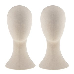 "22"" Canvas Block Mannequin Head Wig Making Hat Cap Display Stand Beige 2pcs"