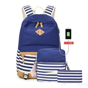 Canvas female Canvas backpack student schoolbag three-piece thermal insulation lunch bag female backpack