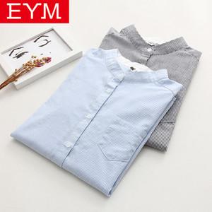 Mulheres Listrado camisa azul 2020 Outono Nova EYM Marca Feminino Cotton Fique Collar manga comprida Casual Blusas soltas Senhora Camisas Tops