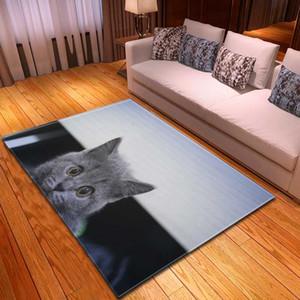 Gatos dos desenhos animados Sofá Area Rug Crianças Room Decor cabeceira tapete flanela antiderrapante 3D Sala Tapetes para Home Decor
