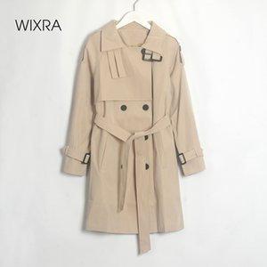 Wixra caduta Trench Giacche doppio petto Tutti termini Khaki Cappotto lungo Chic femminile Sashes Windbreaker Outerwear