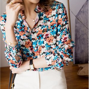 2020 Spring Summer Women Floral Blouse ladies Turn Down Collar single-breasted Flowers Printted Chic Female shirt and top