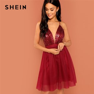 SHEIN Burgundy Sexy Party Backless Sequin Detail Mesh Halter High Waist Solid Dress 2020 Summer Club Fashion Women Dresses