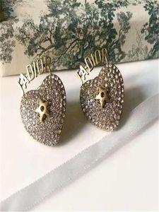 European and American fashion new full diamond stud earrings custom imported brass retro gold-plated fashion stud earrings