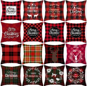 Noël oreiller couverture rouge à carreaux Elk Throw Taie d'oreiller carrée Canapé Taie Plaid impression Coussin Couch Couverture Décor de Noël LSK556