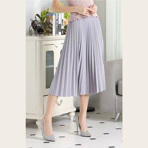Shyloli New Moda Verão Chiffon Doce Estilo Saia Mulheres cintura alta plissada cor sólida saia elegante Mid-Calf Elastic