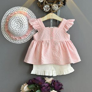 Fashion girls suits Summer 2020 sweet girls outfits blouse Tops+shorts+hat 3pcs set kids beach suits girls clothes retail