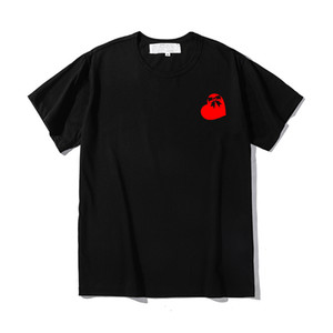 Camisa para hombre de la manera del verano causal bordado camisetas ocasionales camiseta transpirable de manga corta camisetas Impresión del corazón japón par de estilo Tees p01