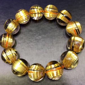 Natural Brazilian Titanium Crystal Bracelet Blonde Crystal Multi-Circle 108 Beads Cats Eyes Shun Hair Yellow Hair Crystal One Thing One Pict
