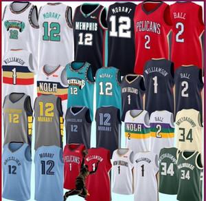 Uomo Bambini Zion 1 Williamson College di maglie Ja 12 Morant Lonzo 2 Ball RJ 9 Barrett Basketball Maglie S-XXL della 2020 nuove maglie