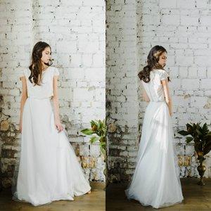 2020 Two Piece Bridesmaid Dresses Lace Applique Jewel Neck Prom Dress Button Back Robes De Demoiselle D'honneur